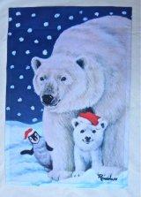 ガーデンフラッグ 白熊、ペンギンさんから季節のご挨拶